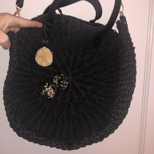 Zara black woven purse